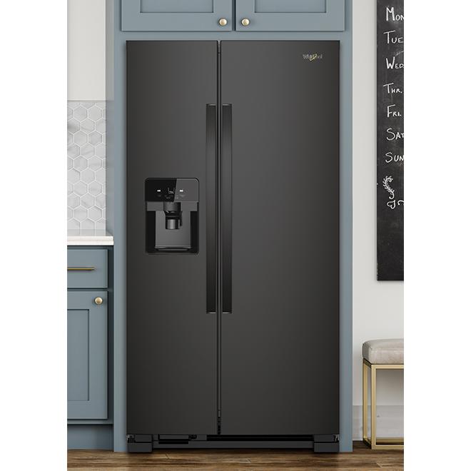 "36"" Whirlpool Side-by-Side Refrigerator - 25 cu. ft. - Black"