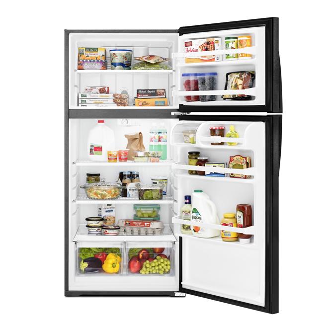 Réfrigérateur à congélateur supérieur Whirlpool, 14 pi³, noir