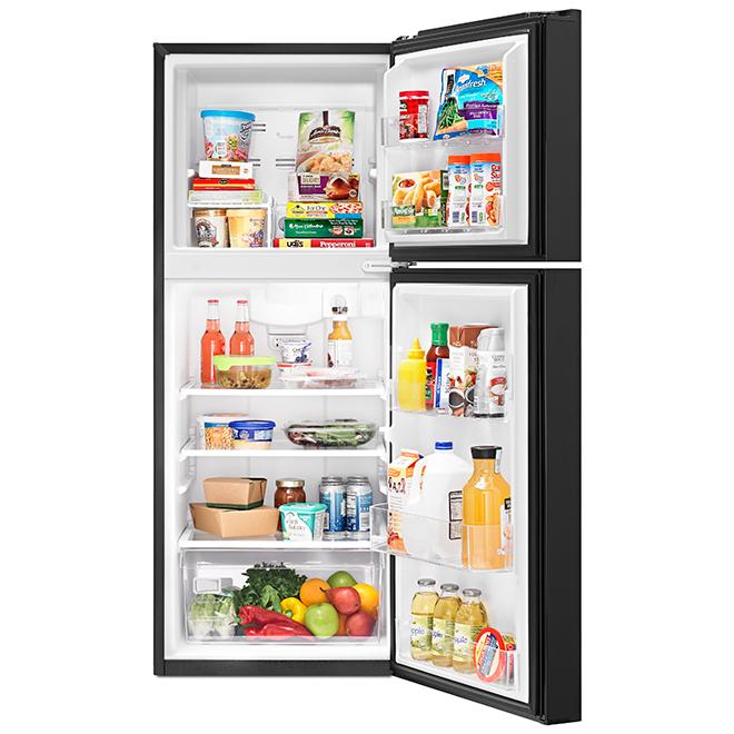 Réfrigérateur à congélateur supérieur Whirlpool, 11 pi³, noir