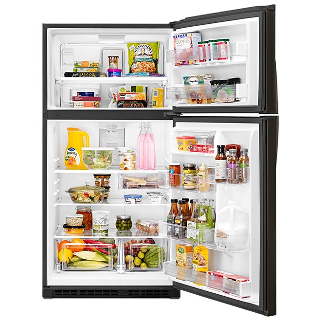 """Réfrigérateur à congélateur supérieur 33"""", 21 pi³, inox noir"""