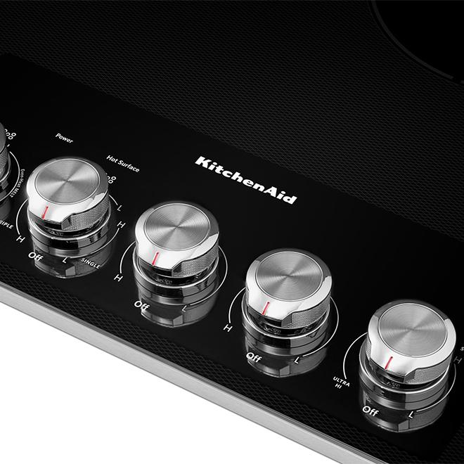 Surface de cuisson KitchenAid électrique, 36 po, noire/acier inoxydable
