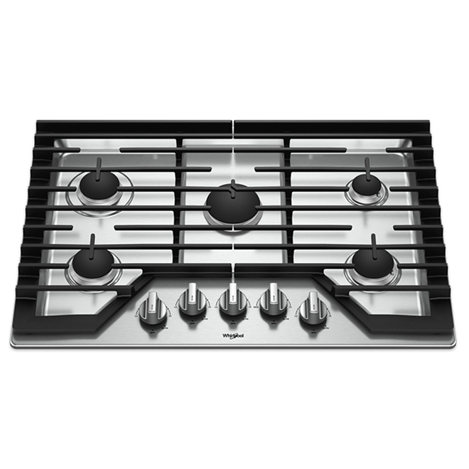 "Whirlpool(TM) Gas Cooktop with SpeedHeat - 5 Burners - 30"" - SS"