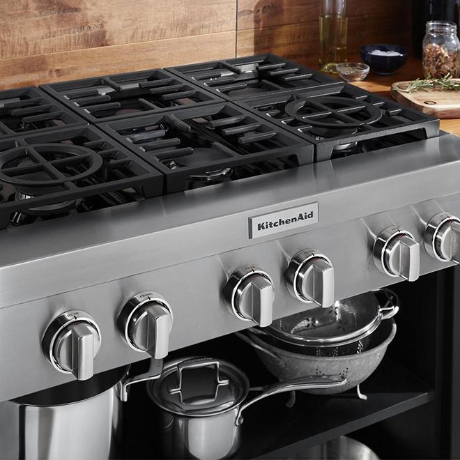 """Table de cuisson encastrée à gaz, 6 brûleurs, 36"""", inox"""