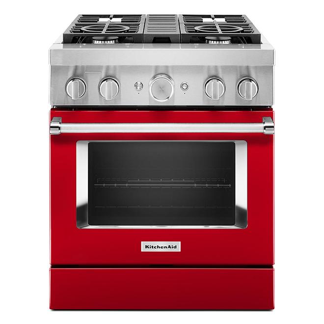 """Cuisinière bi-énergie KitchenAid, 30"""", 4 brûleurs, rouge"""