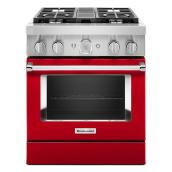 "KitchenAid Dual-Fuel Range - 30"" - 4 Burners - Red"
