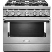 "KitchenAid Dual-Fuel Range - 36"" - 6 Burners - Stainless"