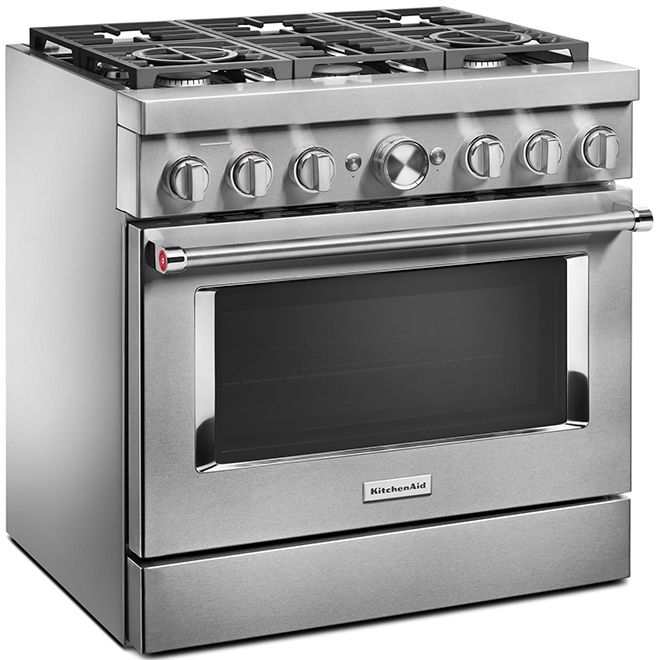 "Cuisinière bi-énergie KitchenAid, 36"", 6 brûleurs, inox"