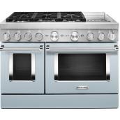 """Cuisinière bi-énergie KitchenAid, 48"""", 6 brûleurs, bleu brumeux"""