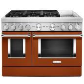 """Cuisinière bi-énergie KitchenAid, 48"""", 6 brûleurs, orange brûlé"""