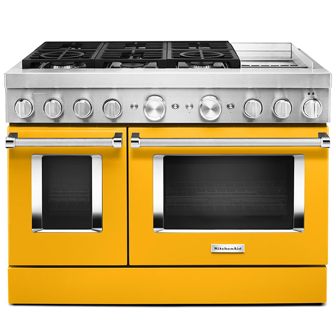 "KitchenAid Dual-Fuel Range - 48"" - 6 Burners - Yellow"