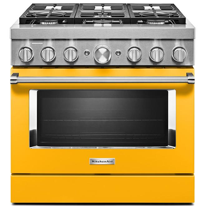 """KitchenAid Dual-Fuel Range - 36"""" - 6 Burners - Yellow"""