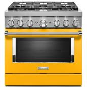 "KitchenAid Dual-Fuel Range - 36"" - 6 Burners - Yellow"