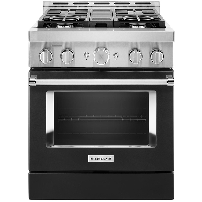 "KitchenAid Gas Range - 30"" - 4 Burners - Imperial Black"