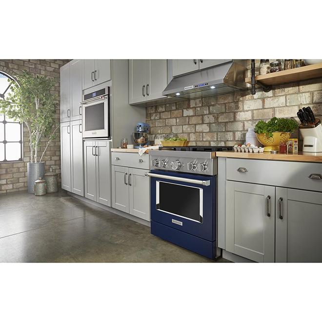 "KitchenAid Gas Range - 30"" - 4 Burners - Ink Blue"