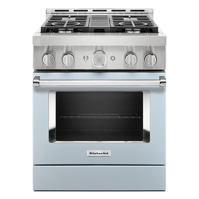 """Cuisinière à gaz KitchenAid, 30"""", 4 brûleurs, bleu brumeux"""