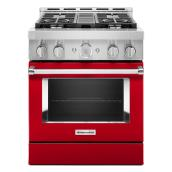 """Cuisinière à gaz KitchenAid, 30"""", 4 brûleurs, rouge passion"""
