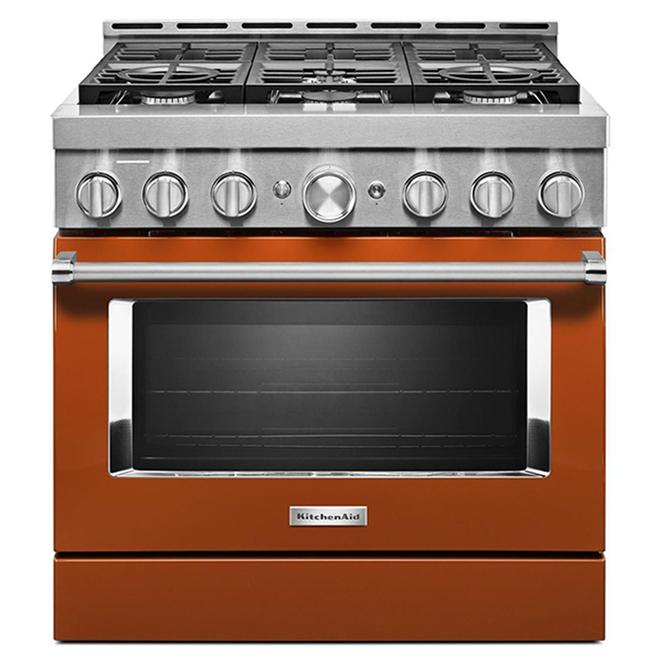"""Cuisinière à gaz KitchenAid, 36"""", 6 brûleurs, orange brûlé"""