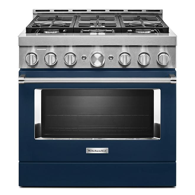 """Cuisinière à gaz KitchenAid, 36"""", 6 brûleurs, encre bleu"""