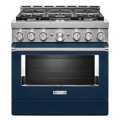 "KitchenAid Gas Range - 36"" - 6 Burners - Ink Blue"