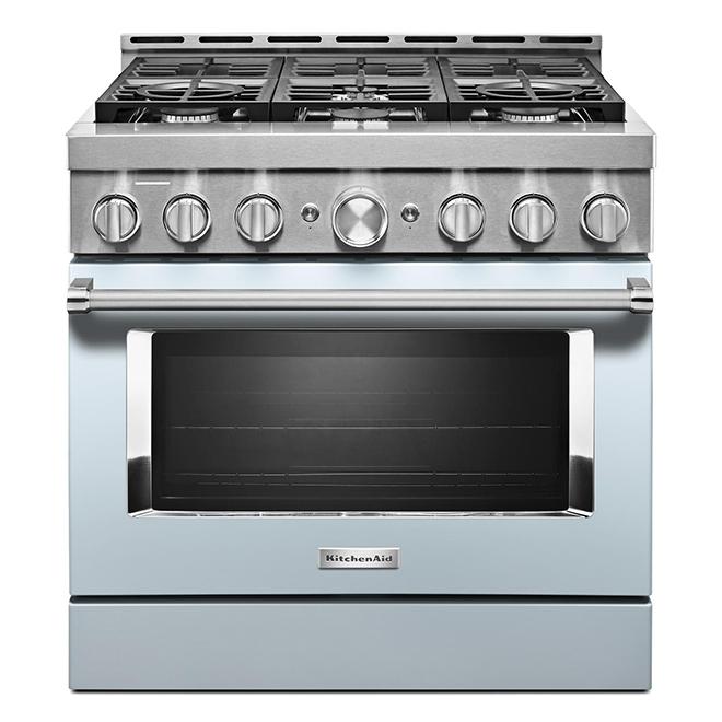 """Cuisinière à gaz KitchenAid, 36"""", 6 brûleurs, bleu brumeux"""