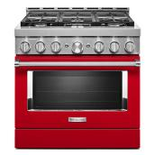 "Gas Range - 6 Burners - 5.1 cu. ft. - 36"" - Passion Red"