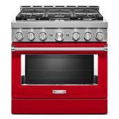 """Cuisinière à gaz, 6 brûleurs, 5,1 pi³, 36"""", rouge passion"""