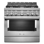 "Gas Range - 6 Burners - 5.1 cu. ft. - 36"" - Stainless Steel"