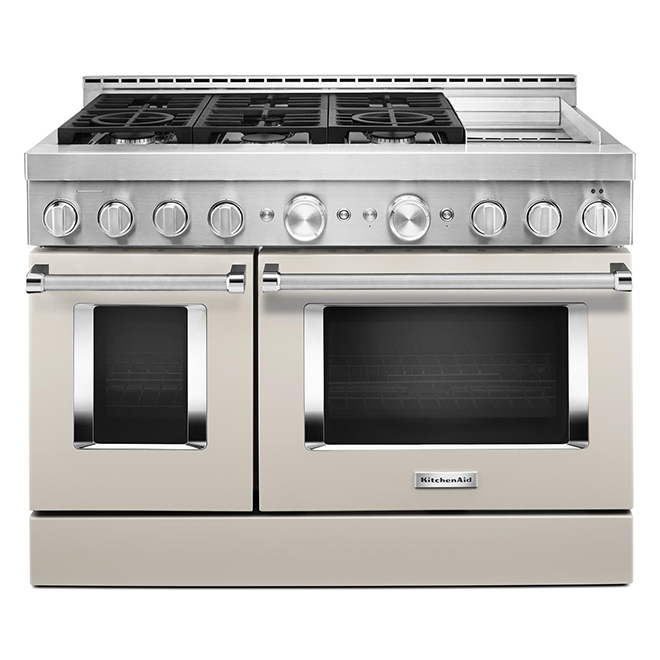 "Gas Cooktop with Griddle- 6 Burners/2 Ovens - 48""- Milkshake"