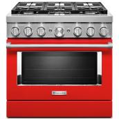 "Dual-Fuel Range - 6 Burners - 36""- 5,1 cu. ft. - Passion Red"