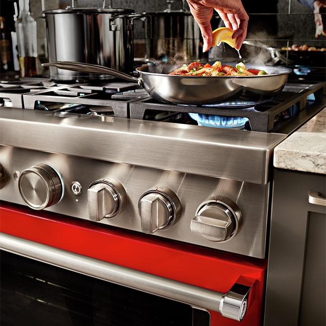 """Cuisinière biénergie, 6 brûleurs, 36"""", 5,1 pi³, rouge passion"""