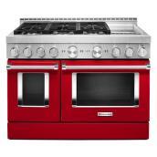 """Cuisinière à gaz avec plaque, four double, 48"""", rouge passion"""