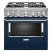 "Dual-Fuel 6-Burner Range - 5.1 cu. ft. - 36"" - Ink Blue"
