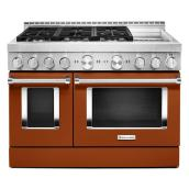 "Gas Range with Griddle- 6 Burners - 48""- Scorched Orange"