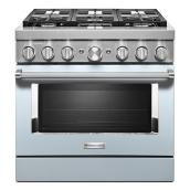 "Dual-Fuel 6-Burner Range - 5.1 cu. ft. 36.5"" - Misty Blue"
