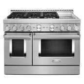 """Cuisinière à gaz 6 brûleurs/2 fours, 48"""", 6,3 pi³, inox"""