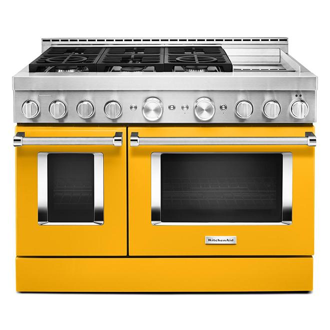 """Cuisinière à gaz, 6 brûleurs/2 fours, 48"""", 6,3 pi³, poivron jaune"""