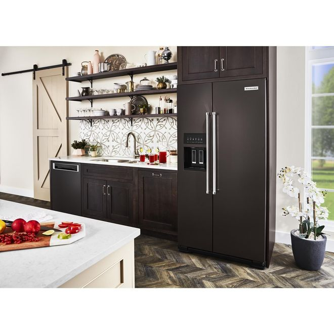 KitchenAid Side-by-Side Refrigerator - 22.6 cu. ft. - Black SS