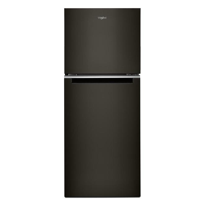 """Réfrigérateur à congélateur supérieur, 24"""", inox noir"""