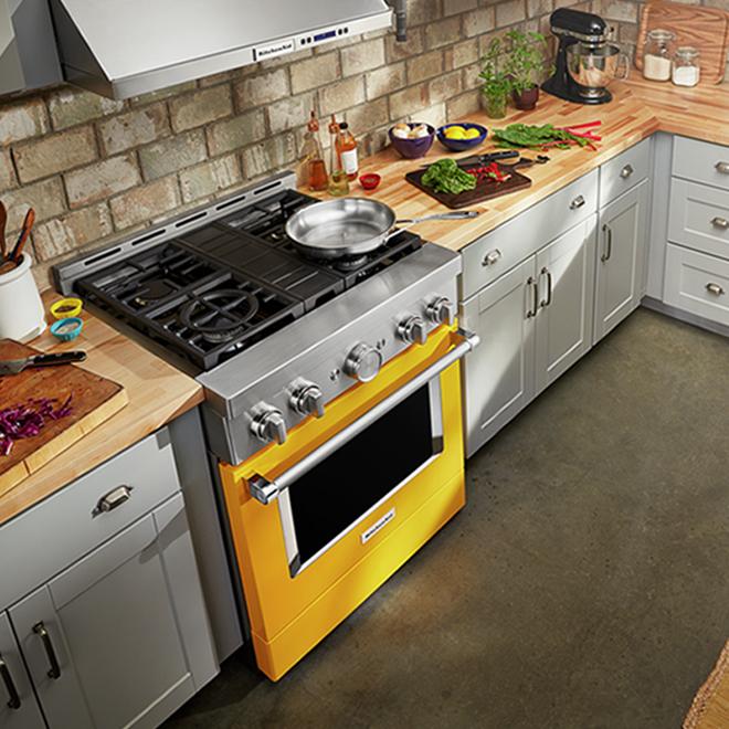 """Cuisinière à gaz KitchenAid, 4 brûleurs, 30"""", 4,1 pi³, jaune"""