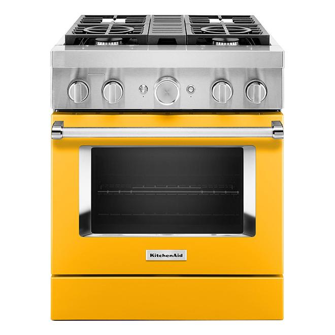 "KitchenAid Dual-Fuel Range - 30"" - 4 Burners - Yellow Pepper"