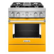"KitchenAid Dual-Fuel Range - 30"" - 4 Burners - Yellow Pepper"