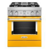 """Cuisinière bi-énergie KitchenAid 30"""", 4 brûleurs, poivron jaune"""