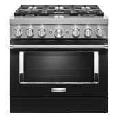"""Cuisinière bi-énergie KitchenAid 36"""", 6 brûleurs, 5,1 pi³, noir impérial"""