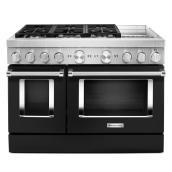 """Cuisinière bi-énergie KitchenAid 48"""", 6 brûleurs, noir impérial"""