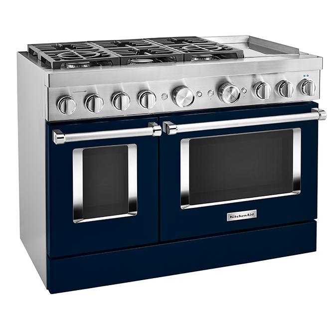 "KitchenAid Dual-Fuel Range - 48"" - 6 Burners - Ink Blue"