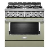 "KitchenAid Gas Range - 36"" - 6 Burners - Avocado Cream"