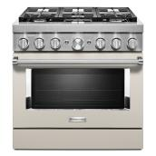 "KitchenAid Gas Range - 36"" - 6 Burners - Milkshake"