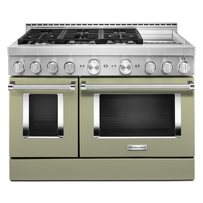 """Gas Range with Griddle- 6 Burners - 48""""- Avocado Cream"""