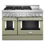 "Gas Range with Griddle- 6 Burners - 48""- Avocado Cream"