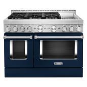 """Cuisinière à gaz avec plaque, 6 brûleurs, 48"""", encre bleu"""